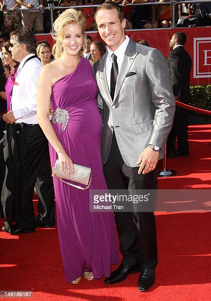 Drew Brees of the New Orleans Saints and wife Brittany Brees arrive at the 2012 ESPY Awards held at Nokia Theatre L.A. Live on July 11, 2012 in Los...