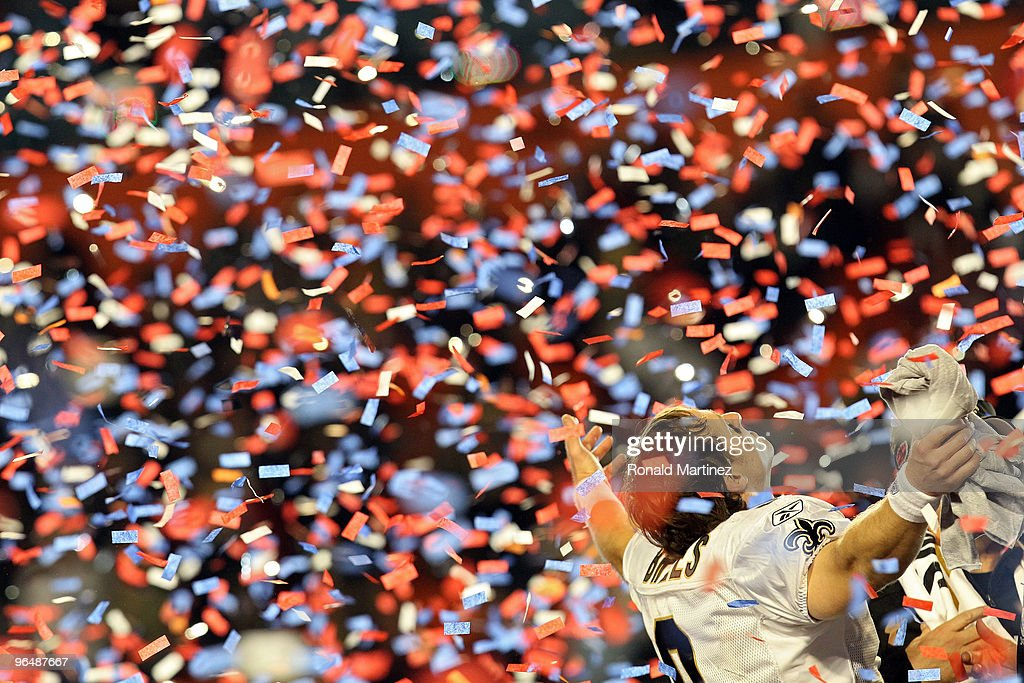 Drew Brees #9 of the New Orleans Saints celebrates after defeating the Indianapolis Colts during Super Bowl XLIV on February 7, 2010 at Sun Life Stadium in Miami Gardens, Florida.