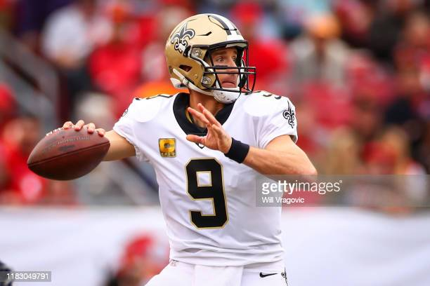 Drew Brees of the New Orleans Saints drops back to pass during the game against the Tampa Bay Buccaneers on November 17 2019 at Raymond James Stadium...