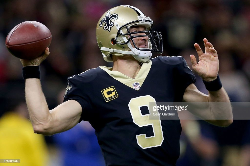 Drew Brees #9 of the New Orleans Saints drops back to pass during the second half of a game against the Washington Redskins at the Mercedes-Benz Superdome on November 19, 2017 in New Orleans, Louisiana.