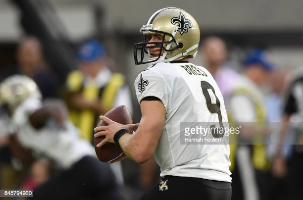 Drew Brees of the New Orleans Saints drops back to pass the ball in the first quarter of the game against the Minnesota Vikings on September 11 2017...