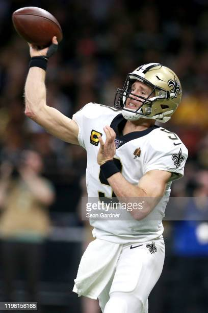 Drew Brees of the New Orleans Saints in action during the NFC Wild Card Playoff game against the Minnesota Vikings at Mercedes Benz Superdome on...