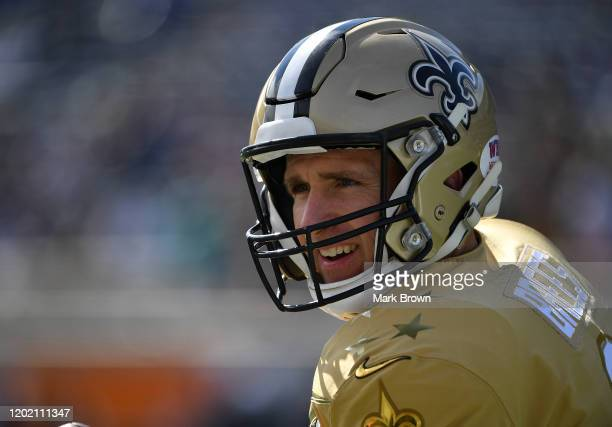 Drew Brees of the New Orleans Saints looks on prior to the 2020 NFL Pro Bowl at Camping World Stadium on January 26 2020 in Orlando Florida