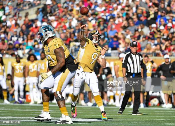 Drew Brees of the New Orleans Saints looks to pass during the 2020 NFL Pro Bowl at Camping World Stadium on January 26 2020 in Orlando Florida