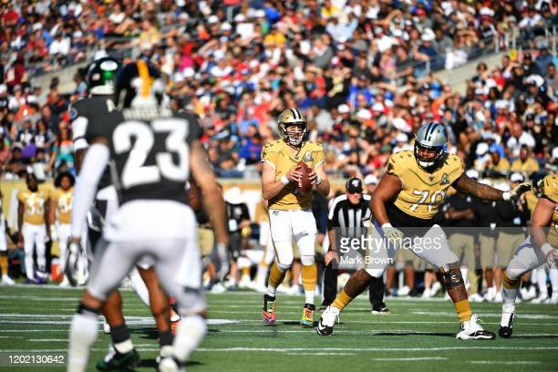 Drew Brees of the New Orleans Saints looks to pass in the first half of the 2020 NFL Pro Bowl at Camping World Stadium on January 26 2020 in Orlando...