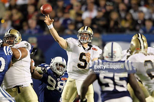 Drew Brees of the New Orleans Saints passes against the Indianapolis Colts during Super Bowl XLIV on February 7 2010 at Sun Life Stadium in Miami...