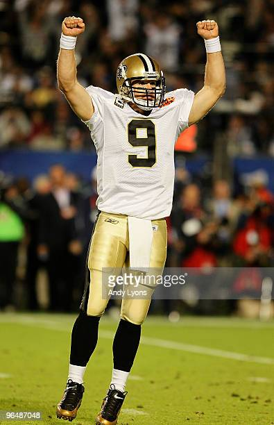 Drew Brees of the New Orleans Saints reacts after scoring in the fourth quarter against the Indianapolis Colts during Super Bowl XLIV on February 7...