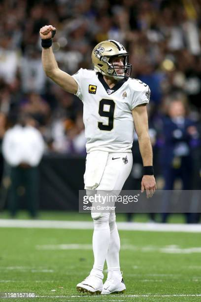 Drew Brees of the New Orleans Saints reats during the NFC Wild Card Playoff game against the Minnesota Vikings at Mercedes Benz Superdome on January...