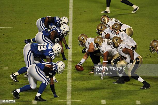 Drew Brees of the New Orleans Saints stands under center against the Indianapolis Colts during Super Bowl XLIV on February 7 2010 at Sun Life Stadium...