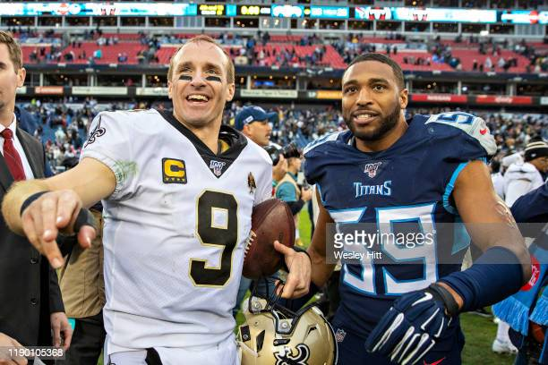 Drew Brees of the New Orleans Saints talks after the game with Wesley Woodyard of the Tennessee Titans at Nissan Stadium on December 22, 2019 in...