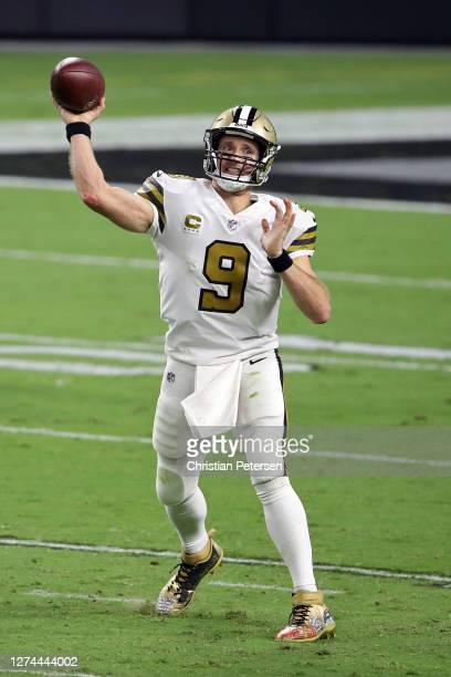 Drew Brees of the New Orleans Saints throws a pass against the Las Vegas Raiders at Allegiant Stadium on September 21 2020 in Las Vegas Nevada