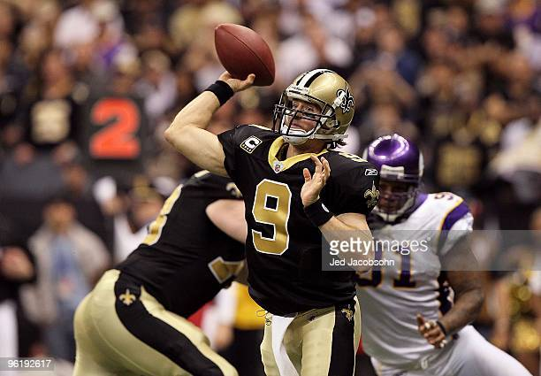 Drew Brees of the New Orleans Saints throws a pass against the Minnesota Vikings during the NFC Championship Game at the Louisiana Superdome on...