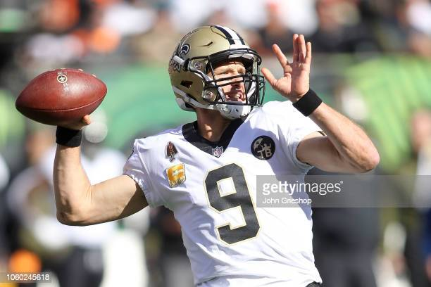 Drew Brees of the New Orleans Saints throws a pass during the first quarter of the game against the Cincinnati Bengals at Paul Brown Stadium on...