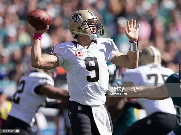Drew Brees of the New Orleans Saints throws a pass in the first quarter against the Philadelphia Eagles on October 11 2015 at Lincoln Financial field...
