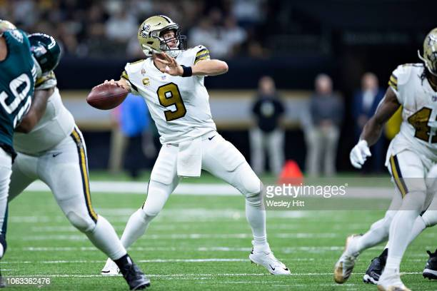 Drew Brees of the New Orleans Saints throws a pass in the second half of a game against the Philadelphia Eagles at MercedesBenz Superdome on November...