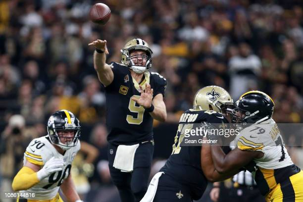 Drew Brees of the New Orleans Saints throws the ball during the second half against the Pittsburgh Steelers at the MercedesBenz Superdome on December...
