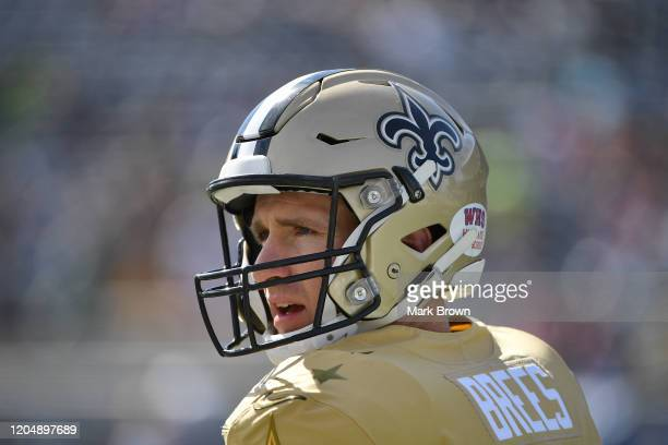Drew Brees of the New Orleans Saints warming up prior to the 2020 NFL Pro Bowl at Camping World Stadium on January 26 2020 in Orlando Florida