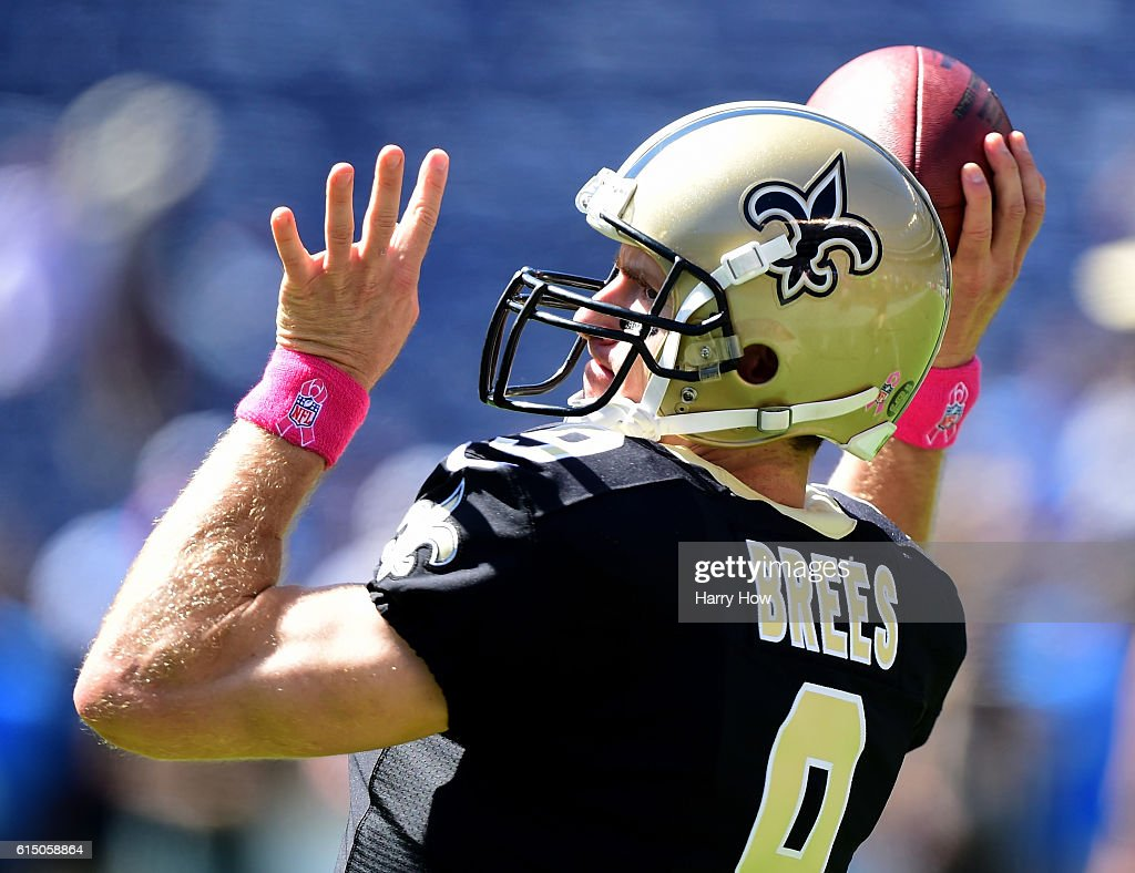 Drew Brees #9 of the New Orleans Saints warms up before the game against the San Diego Chargers at Qualcomm Stadium on October 2, 2016 in San Diego, California.