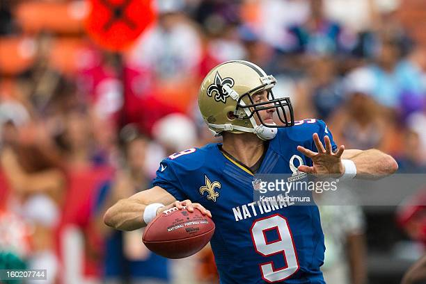 Drew Brees of the NFC's New Orleans Saints passes against the AFC team during the 2013 AFCNFC Pro Bowl on January 27 2013 at Aloha Stadium in...