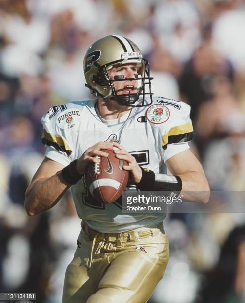 Drew Brees, Quarterback for the Purdue University Boilermakers calls the play at the snap against the University of Washington Huskies during the...