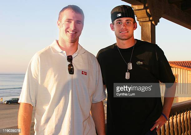 Drew Brees quarterback San Diego Chargers with Andy Roddick US Davis Cup member meet at the La Jolla Beach and Tennis Club prior to the first round...