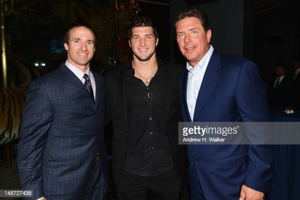 Drew Brees Tim Tebow and Dan Marino attend the Samsung's Annual Hope for Children gala at the American Museum of Natural History on June 4 2012 in...