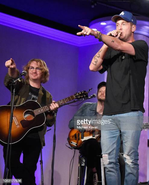 Drew Brown Brent Kutzle and Ryan Tedder from the band OneRepublic perform onstage at the 2018 Make A Wish Gala at The Beverly Hilton Hotel on October...