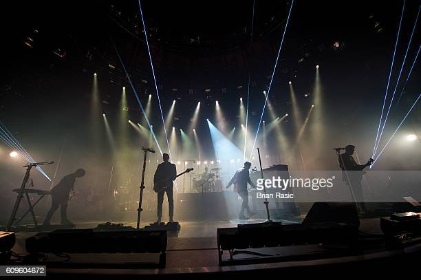 Drew Brown Brent Kutzle Eddie Fisher Ryan Tedder and Zach Filkins of OneRepublic perform at the Apple Music Festival at The Roundhouse on September...