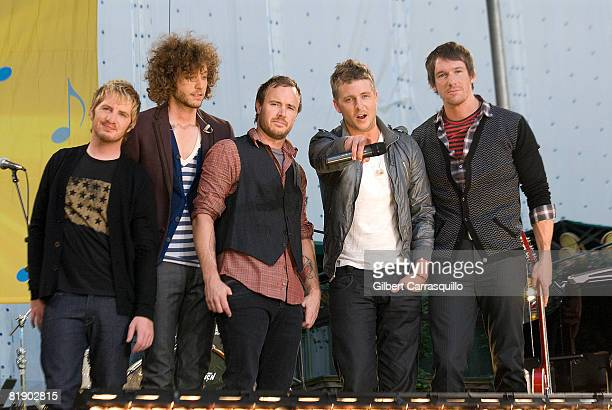Drew Brown Brent Kutzle Eddie Fisher Ryan Tedder and Zach Filkins One Republic perform on ABC's 'Good Morning America' in Bryant Park on July 11 2008...