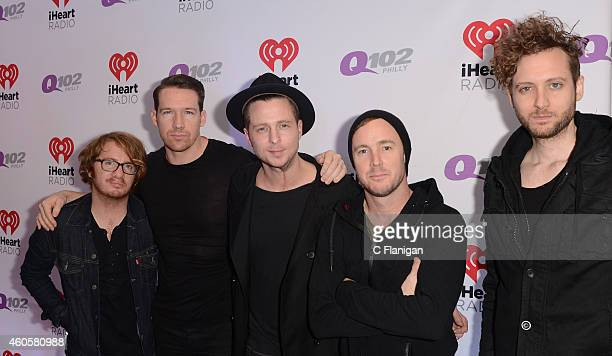 Drew Brown Zach Filkins Ryan Tedder Eddie Fisher and Brent Kutzle of OneRepublic attend Q102's Jingle Ball on December 10 2014 in Philadelphia...