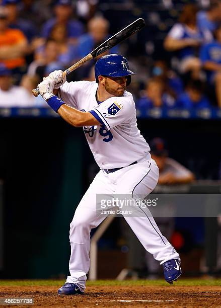 Drew Butera of the Kansas City Royals bats during the game against the Detroit Tigers at Kauffman Stadium on September 2 2015 in Kansas City Missouri