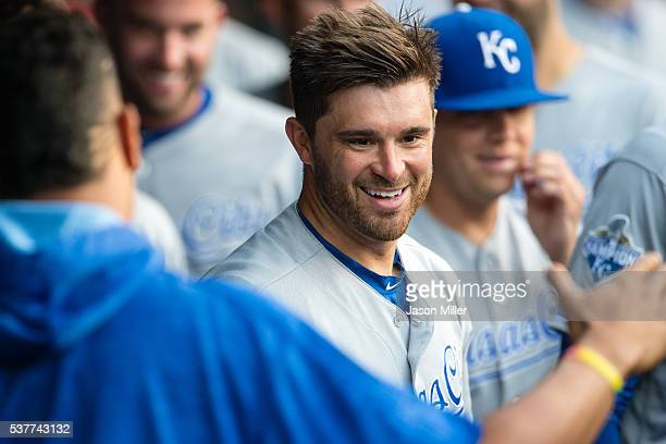 Drew Butera of the Kansas City Royals celebrates after hitting a tworun home run off starting pitcher Carlos Carrasco of the Cleveland Indians during...