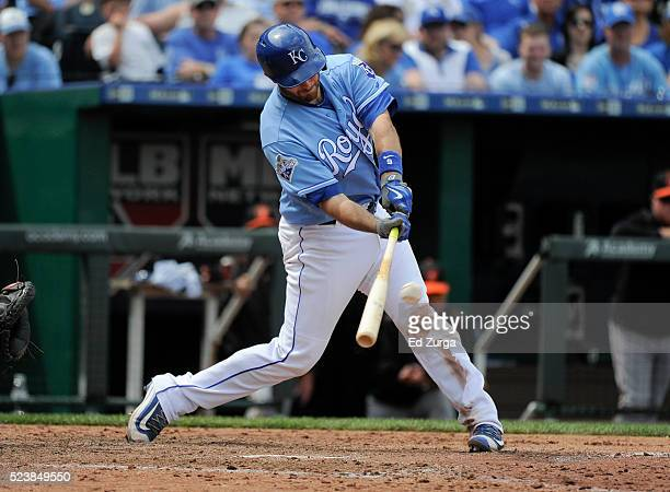 Drew Butera of the Kansas City Royals hits a RBI double in the seventh inning against the Baltimore Orioles at Kauffman Stadium on April 24 2016 in...