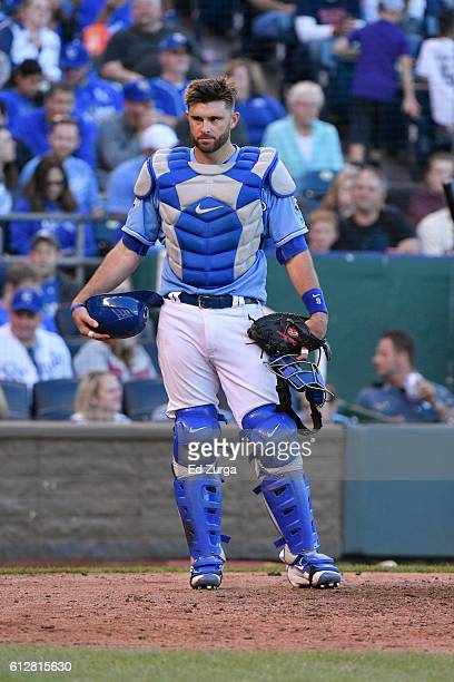 Drew Butera of the Kansas City Royals in action against the Cleveland Indians at Kauffman Stadium on October 1 2016 in Kansas City Missouri