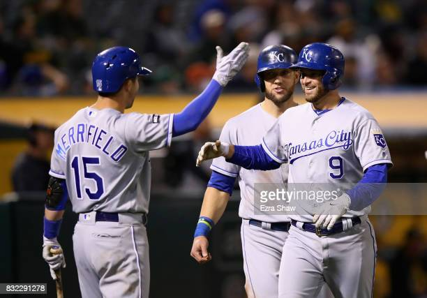Drew Butera of the Kansas City Royals is congratulated by Alex Gordon and Whit Merrifield after hitting a tworun home run in the eighth inning...