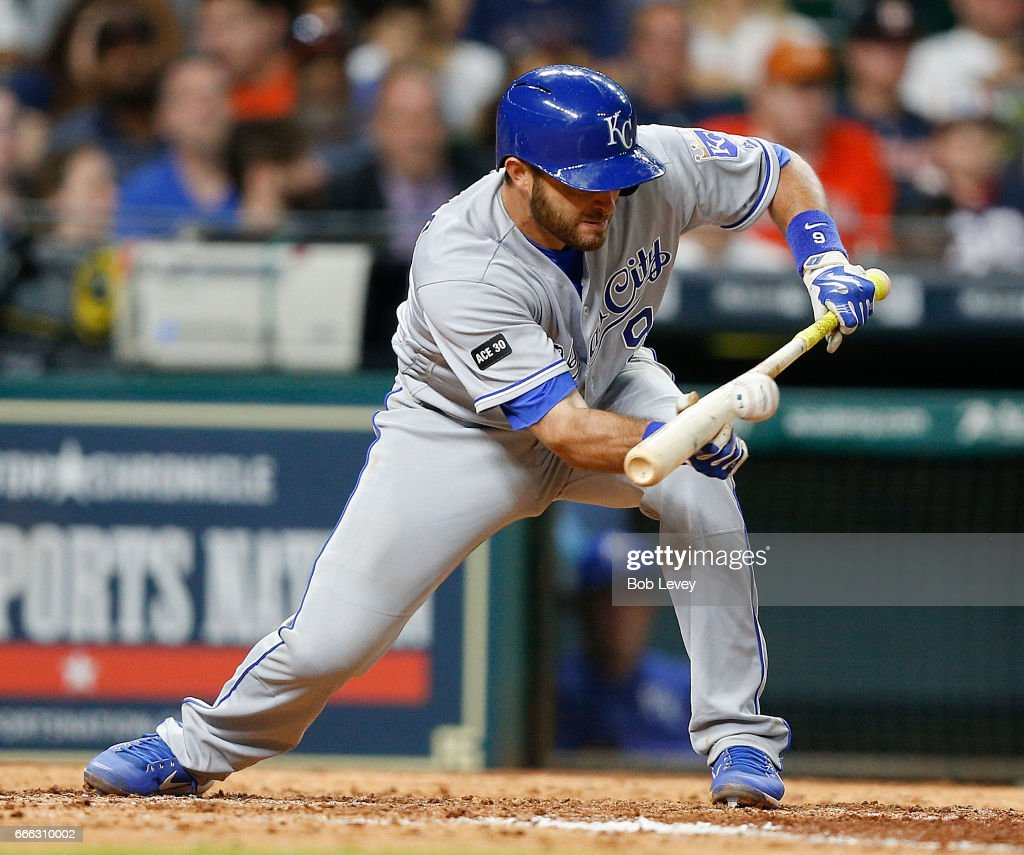 Drew Butera #9 of the Kansas City Royals lays down a sacrifice unt in the eighth inning against the Houston Astros at Minute Maid Park on April 8, 2017 in Houston, Texas.