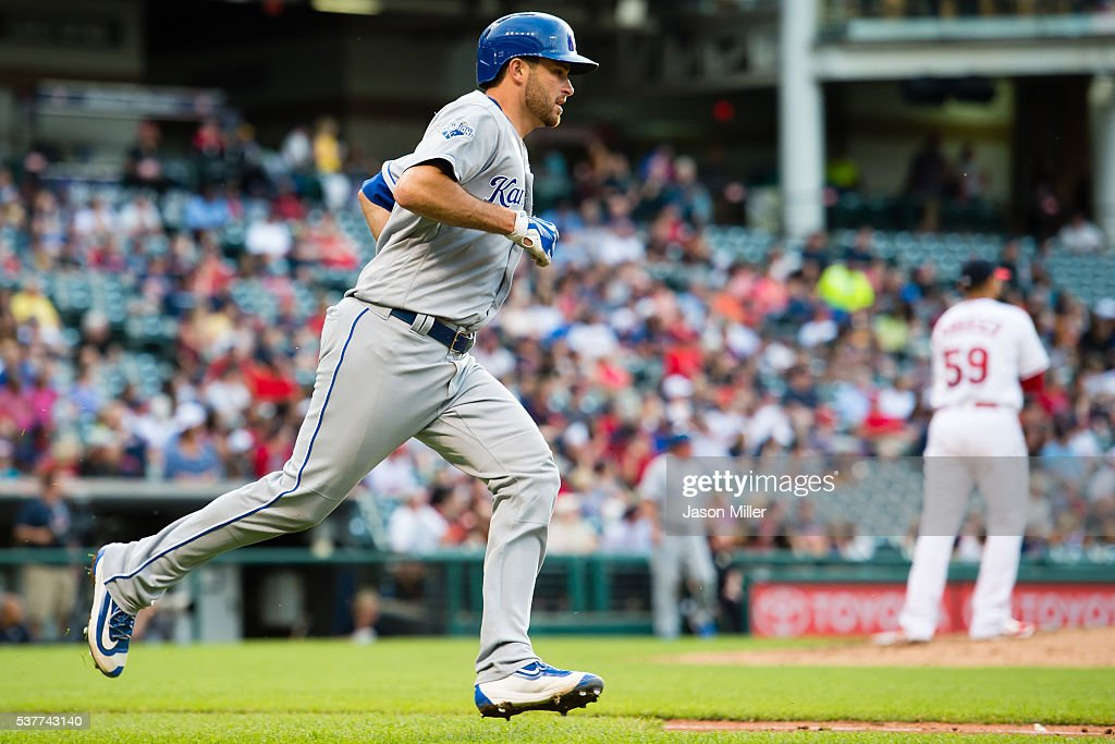 Drew Butera #9 of the Kansas City Royals rounds the bases after hitting a two-run home run off starting pitcher Carlos Carrasco of the Cleveland Indians during the third inning at Progressive Field on June 2, 2016 in Cleveland, Ohio.