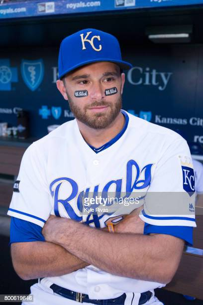 Drew Butera of the Kansas City Royals sports a pair of Big Slick stickers during the Big Slick Celebrity Weekend benefitting Children's Mercy...