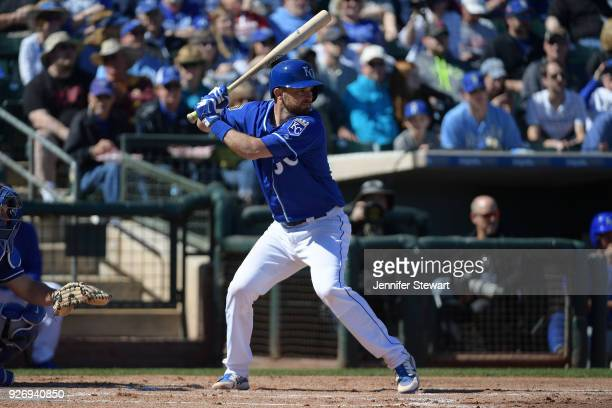 Drew Butera of the Kansas City Royals stands at bat in the spring training game against the Los Angeles Dodgers at Surprise Stadium on February 24...