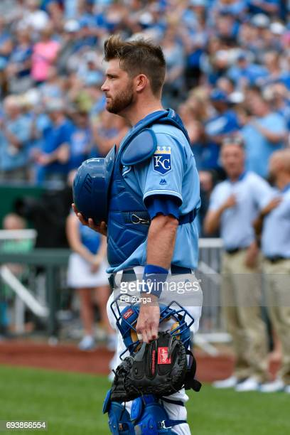 Drew Butera of the Kansas City Royals stands for the playing for the National Anthem prior to a game against the Cleveland Indians at Kauffman...