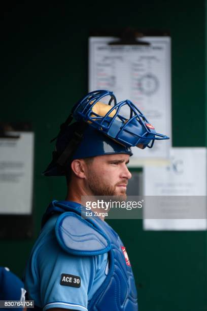 Drew Butera of the Kansas City Royals stands in the dugout prior to a game against the Seattle Mariners in game one of a doubleheader at Kauffman...