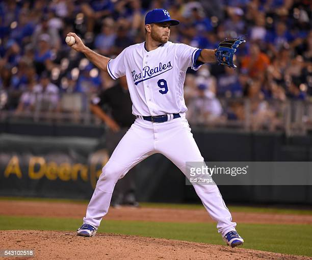 Drew Butera of the Kansas City Royals throws in the ninth inning against the Houston Astros at Kauffman Stadium on June 25 2016 in Kansas City...