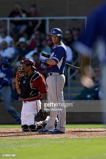 Drew Butera of the Los Angeles Dodgers steps to the plate during the game against the Arizona Diamondbacks at Salt River Fields at Talking Stick on...