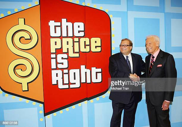 Drew Carey and Bob Barker attend the taping for The Price Is Right held at CBS Television Studios on March 25 2009 in Los Angeles California