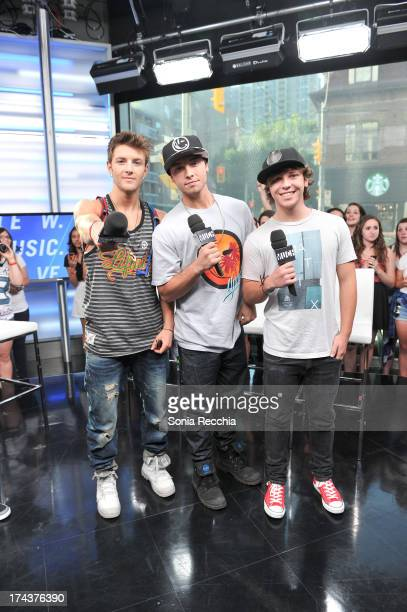 Drew Chadwick Wesley Stromberg and Keaton Stromberg of Emblem3 appear on NEWMUSICLIVE at MuchMusic Headquarters on July 24 2013 in Toronto Canada