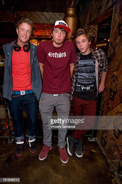 Drew Chadwick Wesley Stromberg and Keaton Stromberg of Emblem3 attend the Emblem3 at Pink Taco on September 12 2012 in Los Angeles California