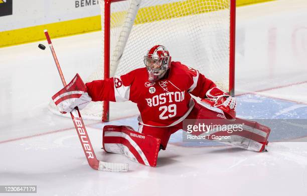 Drew Commesso of the Boston University Terriers makes a save during NCAA men's hockey against the Massachusetts Minutemen at the Mullins Center on...