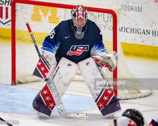 Drew Commesso of the US Nationals gets set for the faceoff against the Switzerland Nationals during day2 of game two of the 2018 Under17 Four Nations...