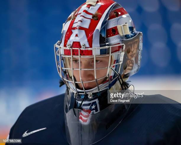 Drew Commesso of the U.S. Nationals looks down the ice against the Switzerland Nationals during day-2 of game two of the 2018 Under-17 Four Nations...