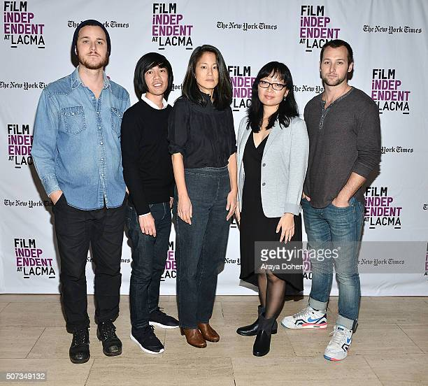 """Drew Daniels, Justin Chan, Jacqueline Kim, Jennifer Phang and Chase Joliet attend the Film Independent at LACMA screening and Q&A of """"Faces"""" at Bing..."""